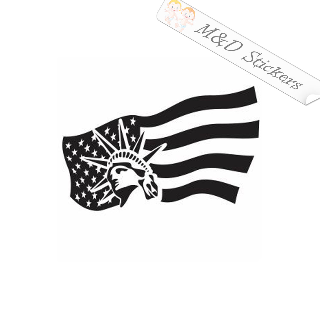 2x American Flag and Statue of Liberty Vinyl Decal Sticker Different colors & size for Cars/Bikes/Windows