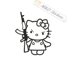 2x Hello Kitty with AK-47 Vinyl Decal Sticker Different colors & size for Cars/Bikes/Windows