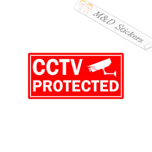 2x CCTV Protected sign Vinyl Decal Sticker Different colors & size for Cars/Bikes/Windows