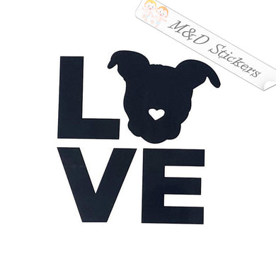 2x Love Pitbull Dog Vinyl Decal Sticker Different colors & size for Cars/Bikes/Windows