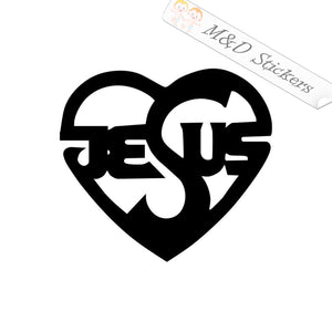 2x Jesus love Vinyl Decal Sticker Different colors & size for Cars/Bikes/Windows