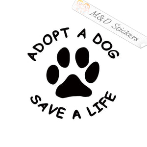 2x Adopt a Dog Vinyl Decal Sticker Different colors & size for Cars/Bikes/Windows