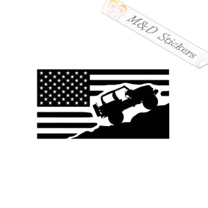 2x Jeep on American Flag Vinyl Decal Sticker Different colors & size for Cars/Bikes/Windows