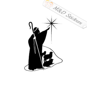 2x Christian Shepherd and star Vinyl Decal Sticker Different colors & size for Cars/Bikes/Windows