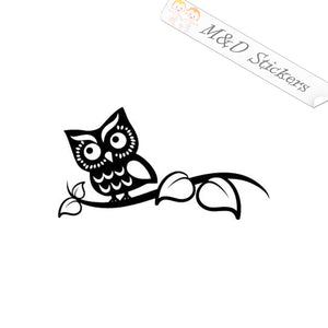 2x Owl on the branch Vinyl Decal Sticker Different colors & size for Cars/Bikes/Windows