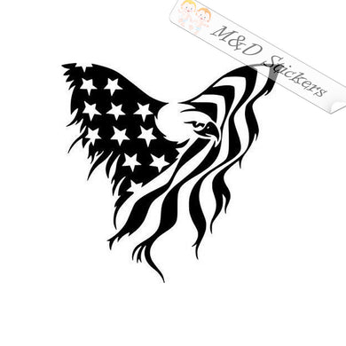 2x American Flag Eagle Vinyl Decal Sticker Different colors & size for Cars/Bikes/Windows