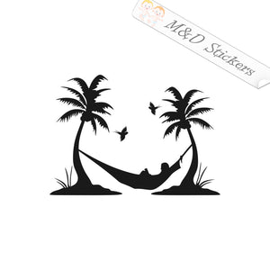 2x Hammock on the Beach Vinyl Decal Sticker Different colors & size for Cars/Bikes/Windows
