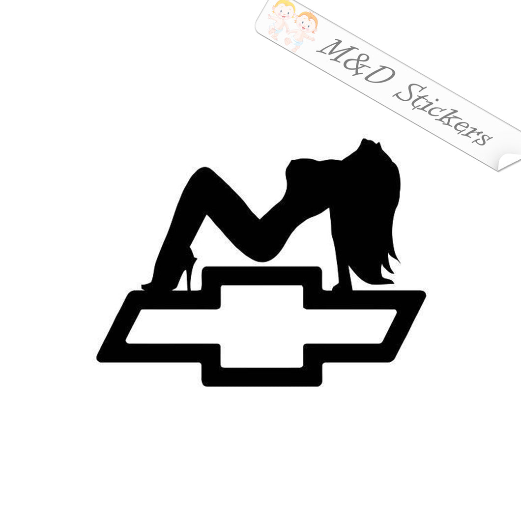 2x Chevrolet and a sexy girl Vinyl Decal Sticker Different colors & size for Cars/Bikes/Windows