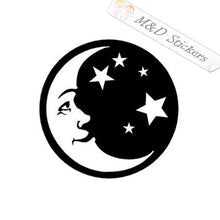 2x Moon and stars Vinyl Decal Sticker Different colors & size for Cars/Bikes/Windows