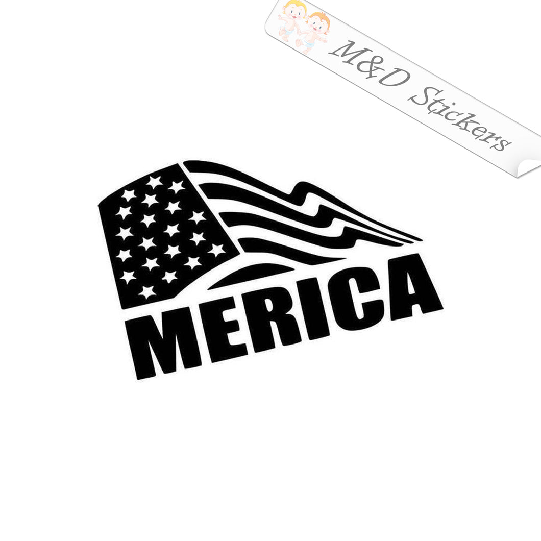 2x Merica Vinyl Decal Sticker Different colors & size for Cars/Bikes/Windows