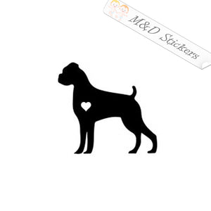 2x Love Boxer Dog Vinyl Decal Sticker Different colors & size for Cars/Bikes/Windows