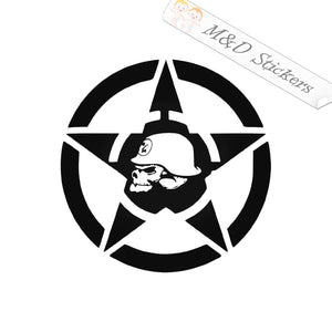 2x Skull in a star Vinyl Decal Sticker Different colors & size for Cars/Bikes/Windows
