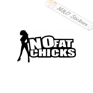 2x No fat chicks Vinyl Decal Sticker Different colors & size for Cars/Bikes/Windows