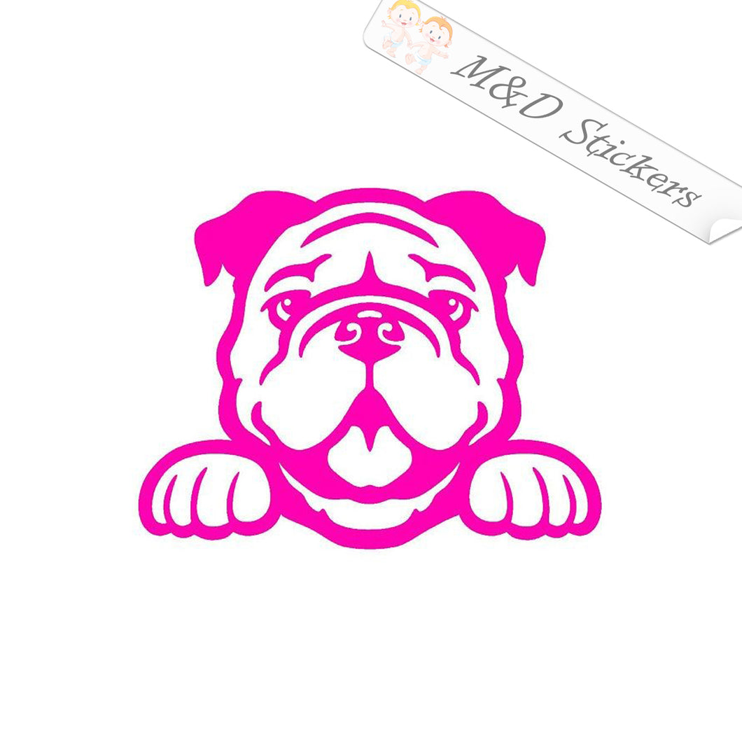 2x Peaking Bulldog Dog Vinyl Decal Sticker Different colors & size for Cars/Bikes/Windows
