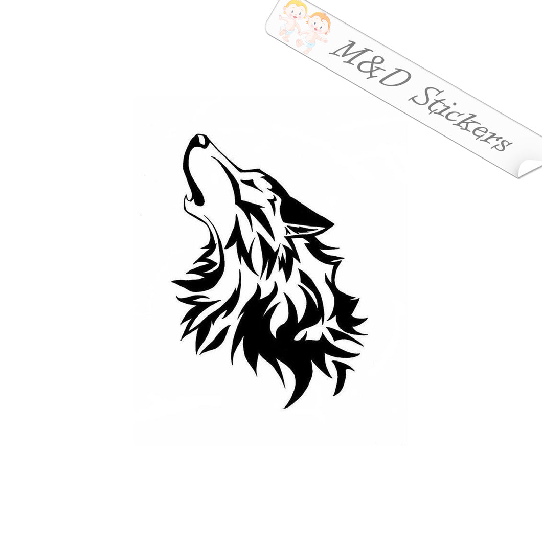 2x Wolf howling Vinyl Decal Sticker Different colors & size for Cars/Bikes/Windows