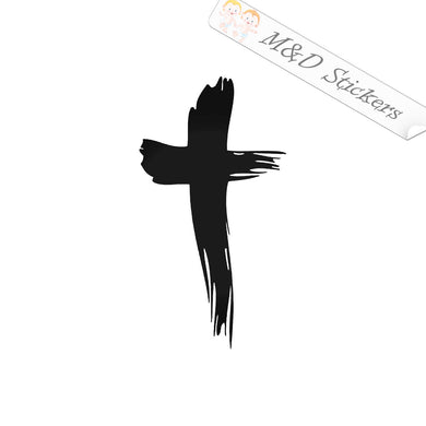 2x Christian Cross Vinyl Decal Sticker Different colors & size for Cars/Bikes/Windows
