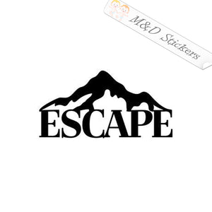 2x Escape to Mountains Vinyl Decal Sticker Different colors & size for Cars/Bikes/Windows