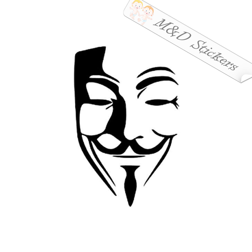 2x Anonimous Mask Vinyl Decal Sticker Different colors & size for Cars/Bikes/Windows