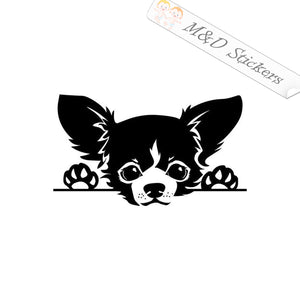 2x Peaking Chihuahua Vinyl Decal Sticker Different colors & size for Cars/Bikes/Windows