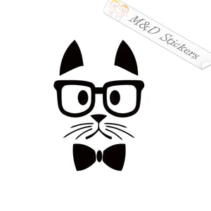 2x Fancy hipster cat Vinyl Decal Sticker Different colors & size for Cars/Bikes/Windows
