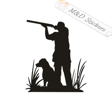 2x Hunter with dog Vinyl Decal Sticker Different colors & size for Cars/Bikes/Windows
