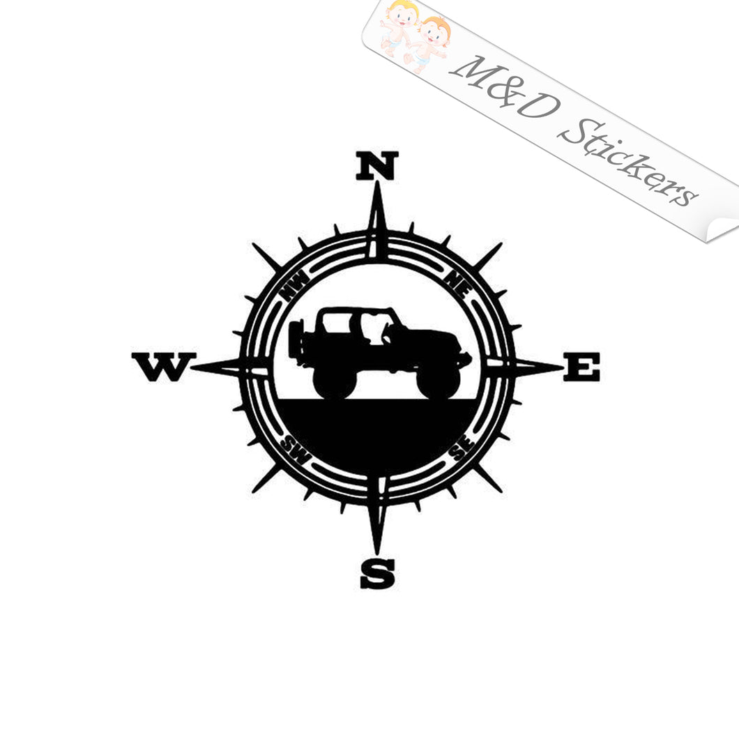 2x Jeep - compass Vinyl Decal Sticker Different colors & size for Cars/Bikes/Windows