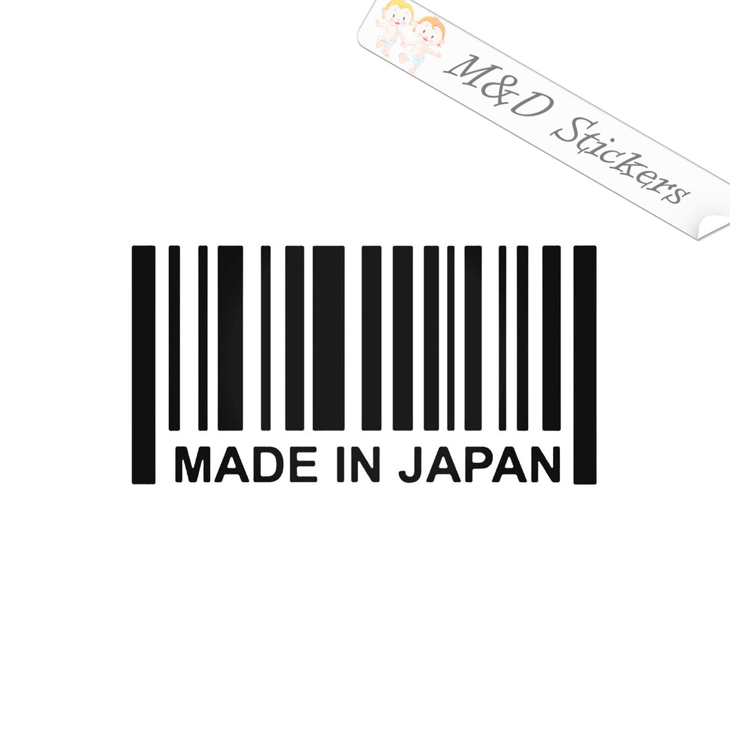 2x Made in Japan Barcode Vinyl Decal Sticker Different colors & size for Cars/Bikes/Windows
