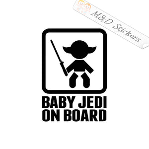 2x Baby Jedi on board Vinyl Decal Sticker Different colors & size for Cars/Bikes/Windows