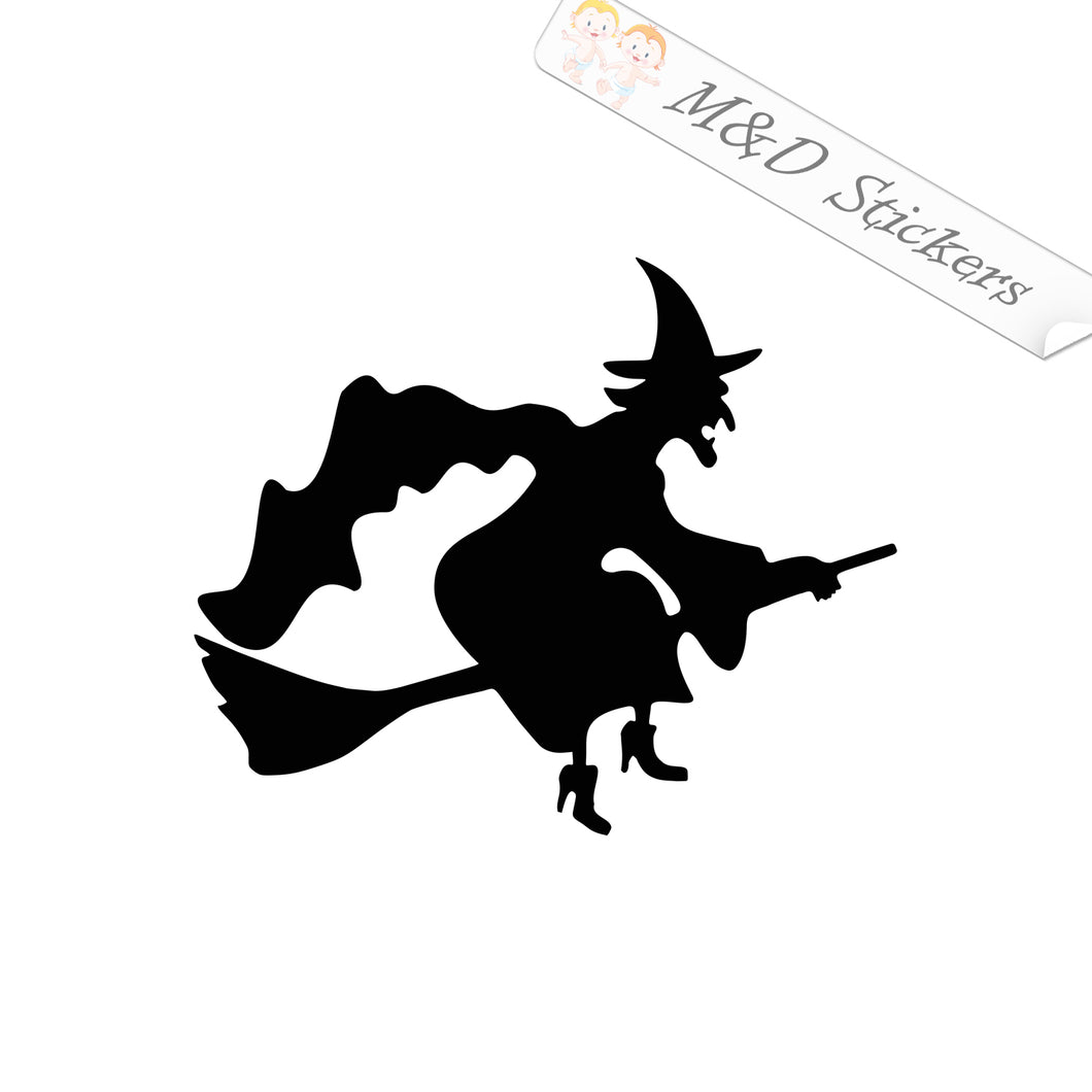 2x The witch on the broom Vinyl Decal Sticker Different colors & size for Cars/Bikes/Windows