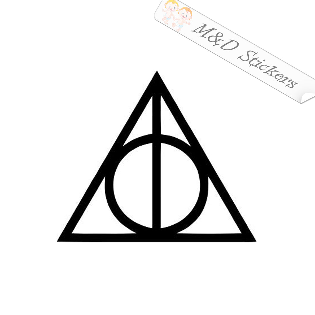 2x Harry Potter Inspired Deathly Hallows symbol with wand Vinyl Decal Sticker Different colors & size for Cars/Bikes/Windows