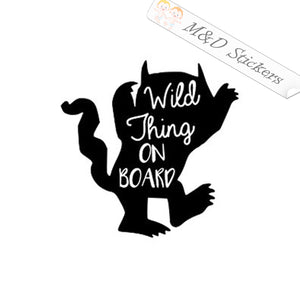 2x Wild Things on board Vinyl Decal Sticker Different colors & size for Cars/Bikes/Windows
