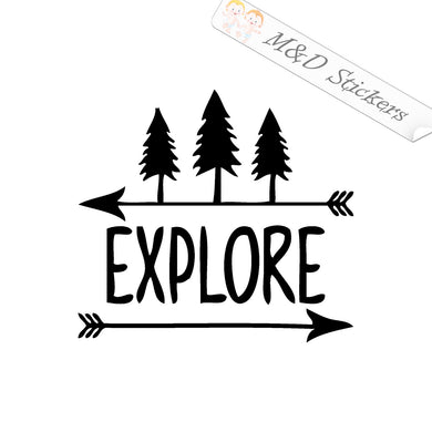 2x Explore mountains nature Vinyl Decal Sticker Different colors & size for Cars/Bikes/Windows