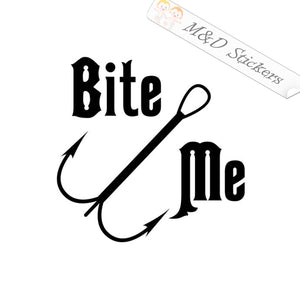 2x Bite me hook Decal Sticker Different colors & size for Cars/Bikes/Windows