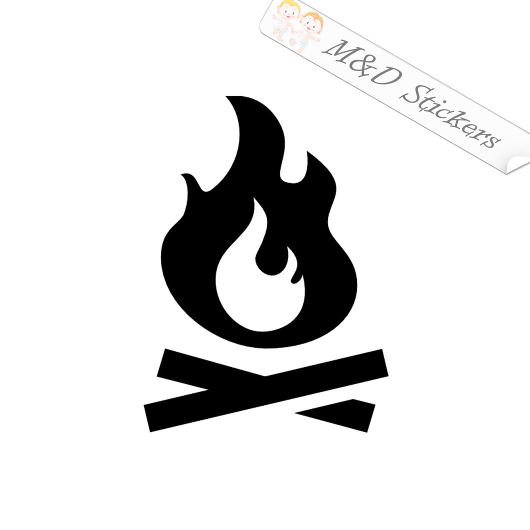 2x Camp fire Vinyl Decal Sticker Different colors & size for Cars/Bikes/Windows