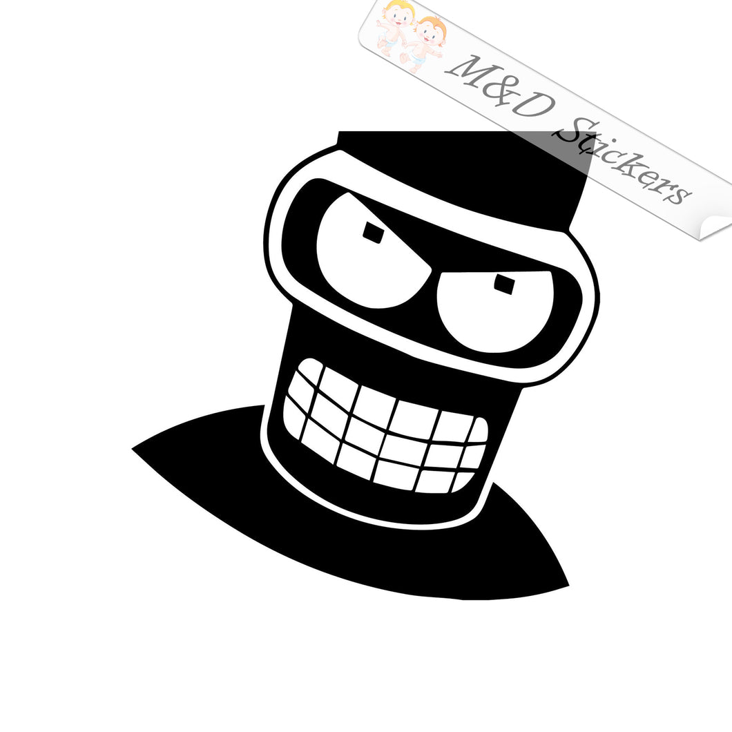 2x Angry Bender Vinyl Decal Sticker Different colors & size for Cars/Bikes/Windows