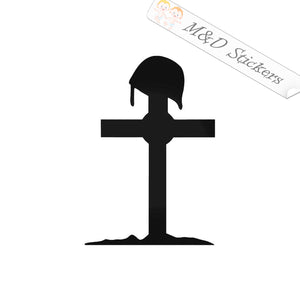 2x Army cross symbolic grave Vinyl Decal Sticker Different colors & size for Cars/Bikes/Windows