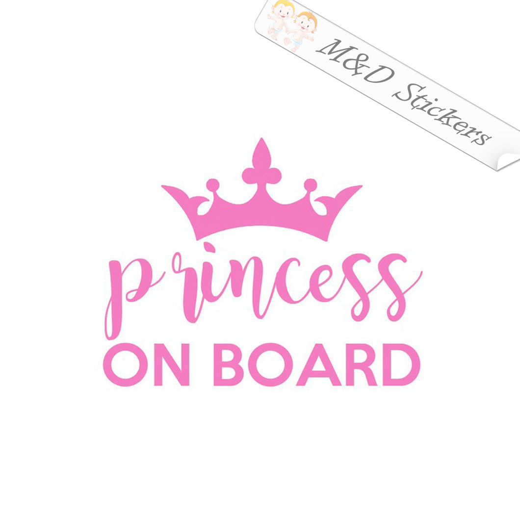 2x Princess on Board Vinyl Decal Sticker Different colors & size for Cars/Bikes/Windows