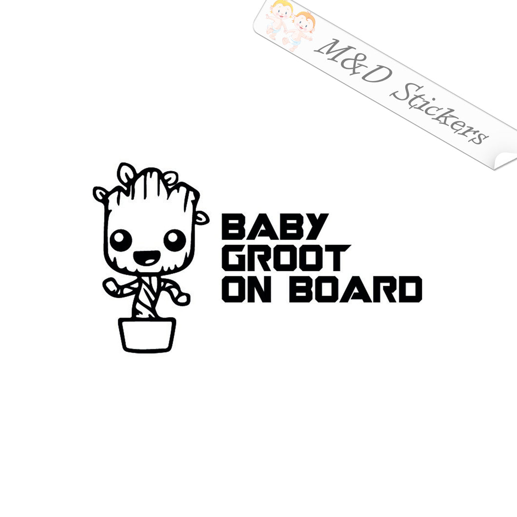 2x Baby Groot on board Vinyl Decal Sticker Different colors & size for Cars/Bikes/Windows