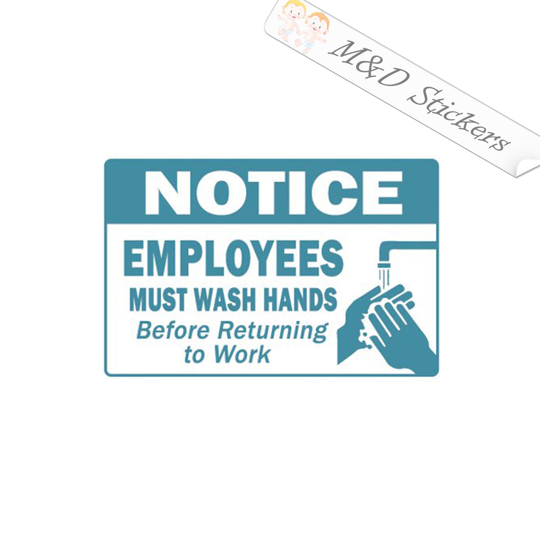 2x Employees must wash hands sign Vinyl Decal Sticker Different colors & size for Cars/Bikes/Windows