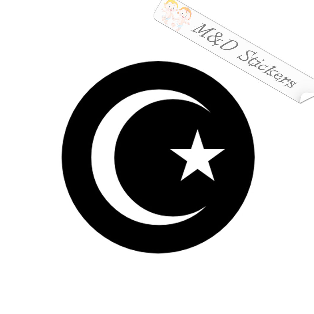 2x Turkish Turkey Crescent and Star Flag Vinyl Decal Sticker Different colors & size for Cars/Bikes/Windows