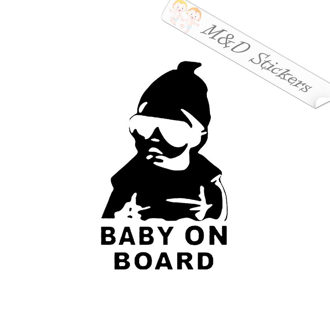 2x Cool Baby on board Vinyl Decal Sticker Different colors & size for Cars/Bikes/Windows