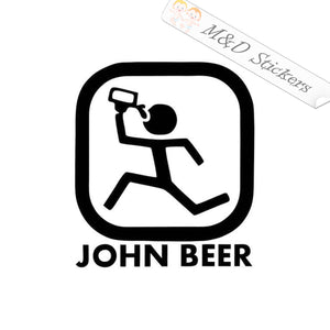 2x John Beer funny John Deere Logo Vinyl Decal Sticker Different colors & size for Cars/Bikes/Windows