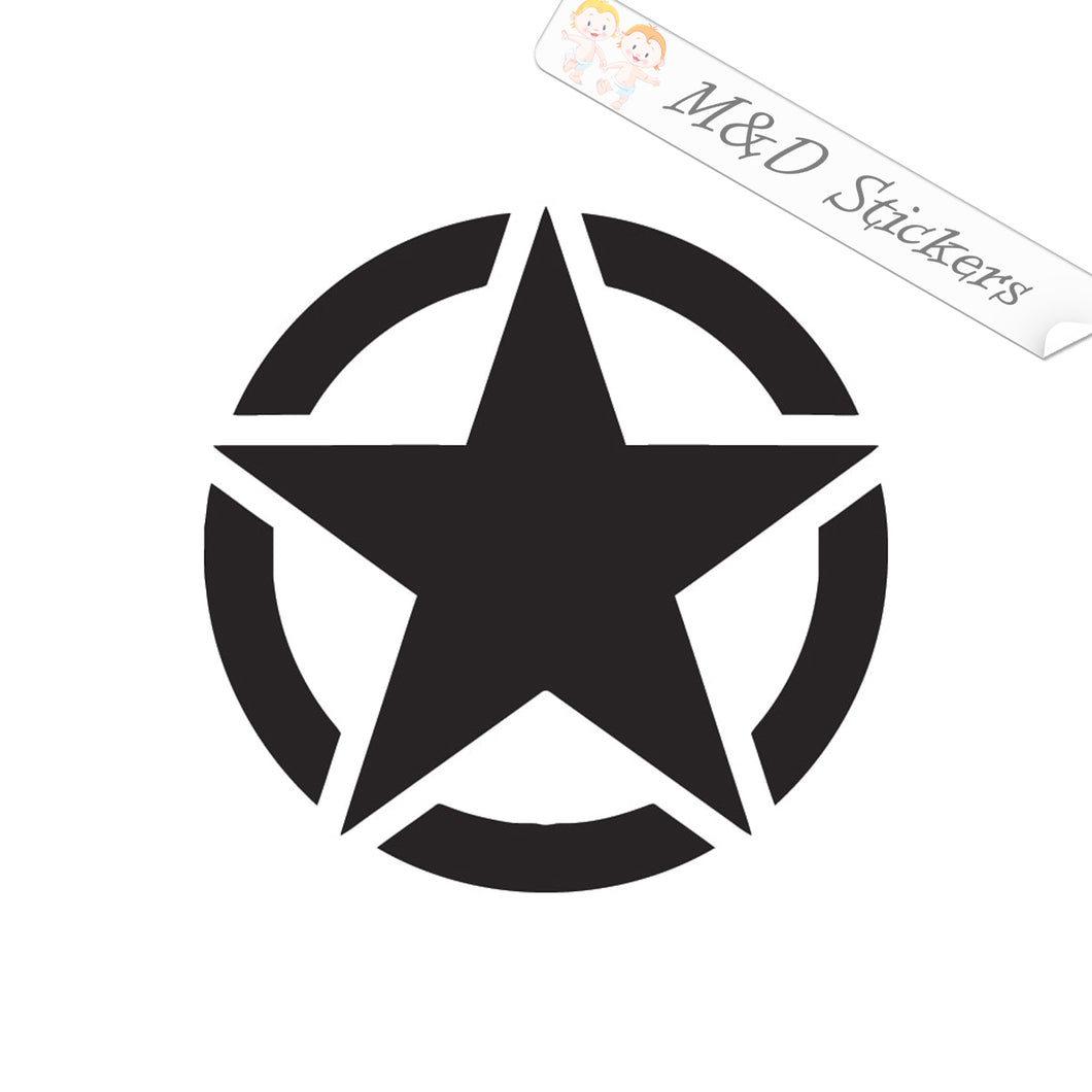 2x Star in a circle Vinyl Decal Sticker Different colors & size for Cars/Bikes/Windows