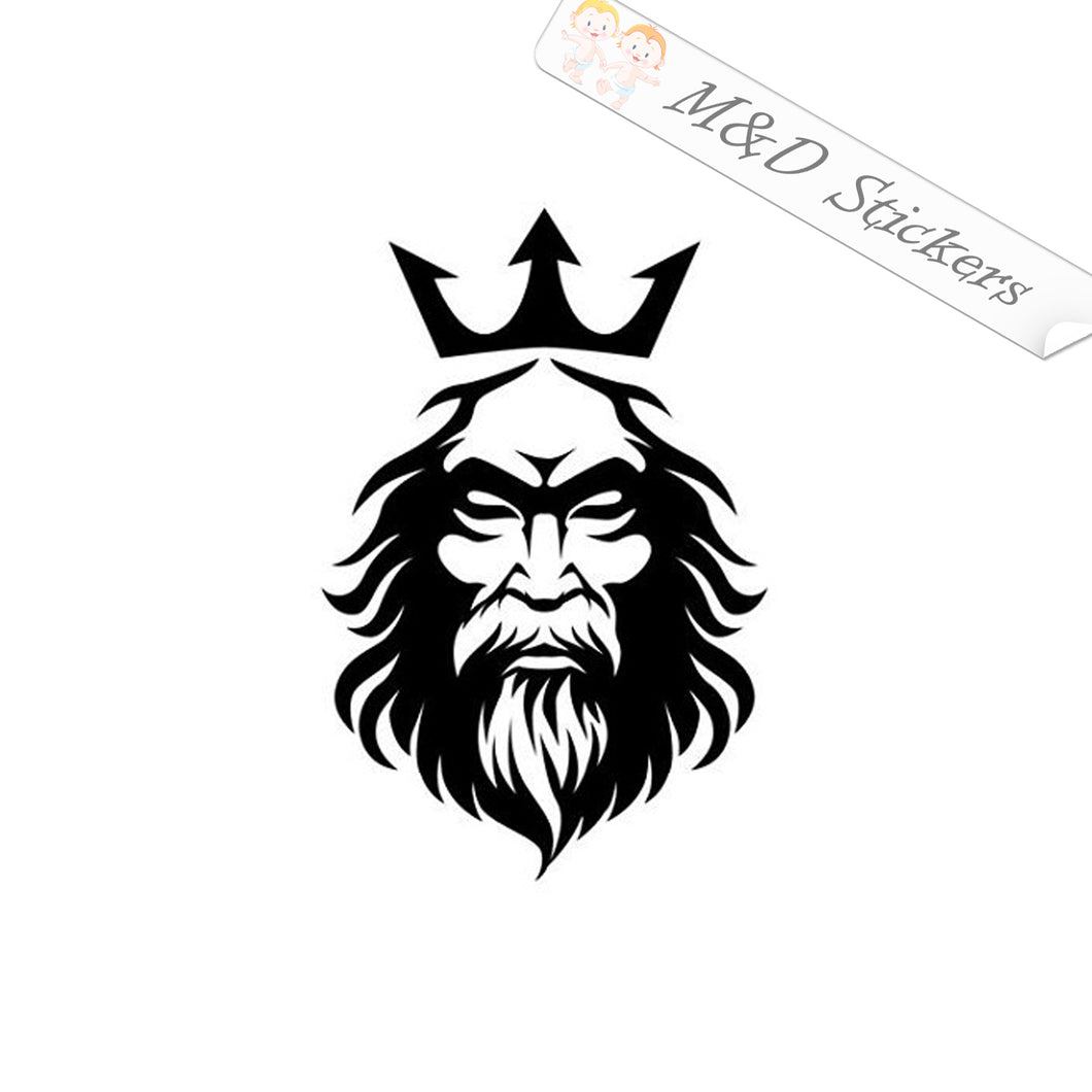 2x Neptune Poseidon Ancient Greek Roman Sea God Vinyl Decal Sticker Different colors & size for Cars/Bikes/Windows