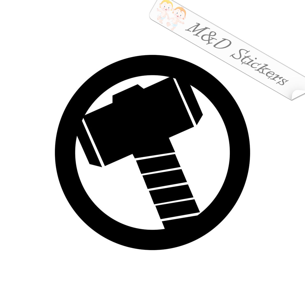 2x Thor Hammer Vinyl Decal Sticker Different colors & size for Cars/Bikes/Windows