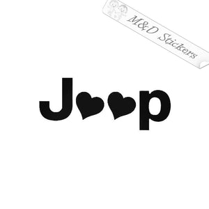 2x Love Jeep Vinyl Decal Sticker Different colors & size for Cars/Bikes/Windows
