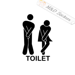 2x Toilet restroom funny sign Vinyl Decal Sticker Different colors & size for Cars/Bikes/Windows