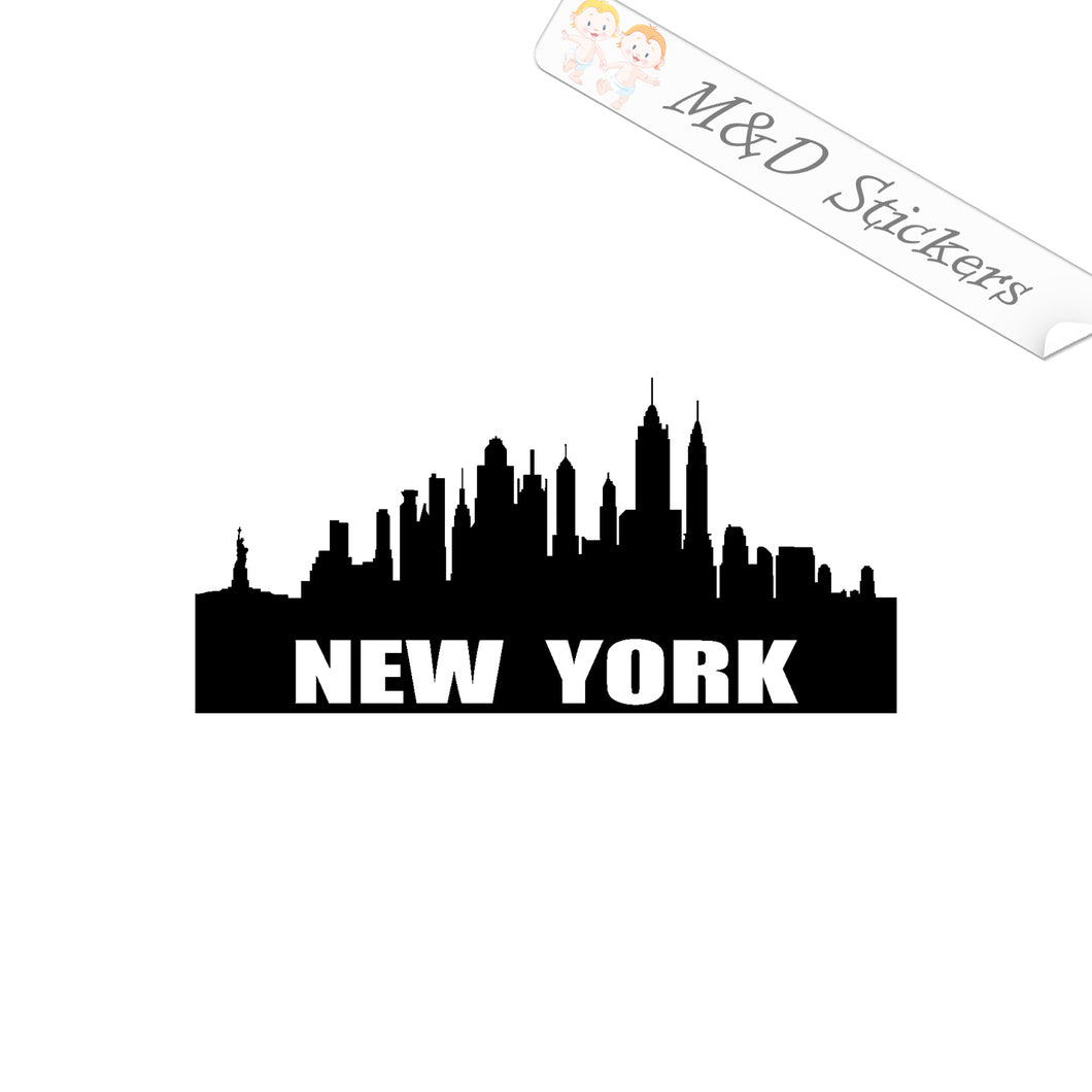 2x American New York City Skyline Vinyl Decal Sticker Different colors & size for Cars/Bikes/Windows