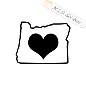 2x Love Oregon State Borders shape Vinyl Decal Sticker Different colors & size for Cars/Bikes/Windows