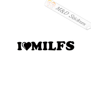 2x I love MILFs Vinyl Decal Sticker Different colors & size for Cars/Bikes/Windows
